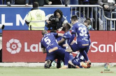 El Alavés celebra el gol de Munir. Fotografía: LaLiga
