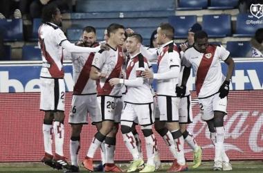 Jugadores celebrando un gol. Fotografía: Rayo Vallecano S.A.