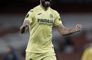 Raúl Albiol celebrando su pase a la final de la Europa League / Foto: Villarreal CF