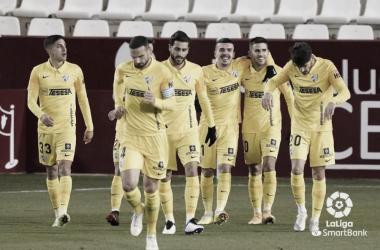El Málaga CF celebra su gol ante el Albacete Balompié. / Foto: LaLiga