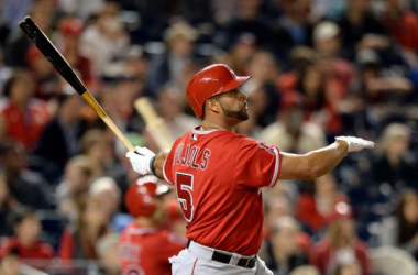 Albert Pujols #5 of the Los Angeles Angels of Anaheim hits a two-run home run against the Washington Nationals in the fifth inning at Nationals Park on April 22, 2014 in Washington, DC. The home run home was Albert Pujols' 500th.