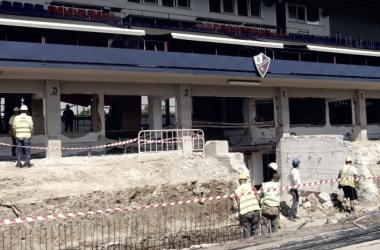 Obras en el Estadio El Alcoraz. Foto | SD Huesca
