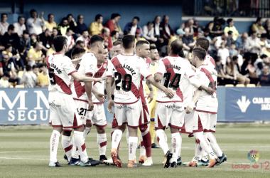 Jugdores antes del partido contra el Alcorcón. Fotografía: La Liga