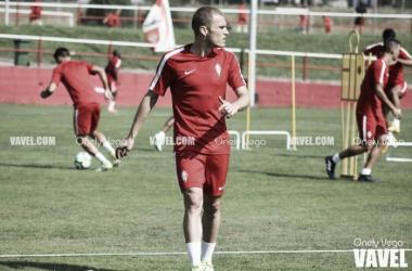 Bergantiños en un entrenamiento con el Sporting // Foto: Onely Vega-VAVEL