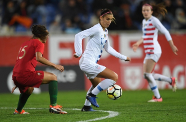 Alex Morgan takes on Carole Costa in 2018 I Brad Smith ISI Photos