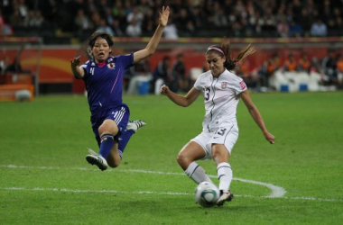 Saki Kumagai and Alex Morgan fight for the ball in the 2011 Womens World Cup final in Frankfurt / photo courtesy vettri.net Photo Gallery