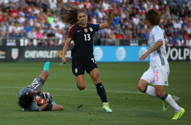 "Alex Morgan scored one of the two USA goals in their 2-2 draw against Japan on Wednesday. | Photo: <span style=""color: rgb(153, 153, 153); font-family: helvetica, arial, verdana, sans-serif; font-style: normal; text-align: start; background-color: rgb(255, 255, 255);"">Doug Pensinger - Getty Images</span>"