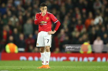 MANCHESTER, ENGLAND - MARCH 13: Alexis Sanchez of Manchester United looks despondent during the UEFA Champions League Round of 16 Second Leg match between Manchester United and Sevilla FC at Old Trafford on March 13, 2018 in Manchester, United Kingdom. (Photo by Clive Mason/Getty Images)