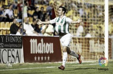 Alfaro celebrando su gol ante el Alcorcón | Foto: LaLiga