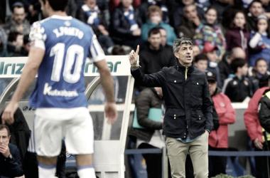 Imanol Alguacil en su último partido como entrenador del primer equipo realista. Foto: Real Sociedad