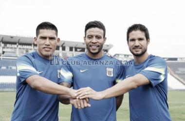 Andy Pando y Lionard Pajoy fueron goleadores en el Descentralizado, mientras que Uribe llega como campeón con Melgar. Foto: Facebook, Club alianza Lima.