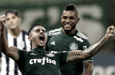 Thiago Martins após marcar no último confronto entre as equipes (Foto: Cesar Greco/ Palmeiras/ Divulgação)