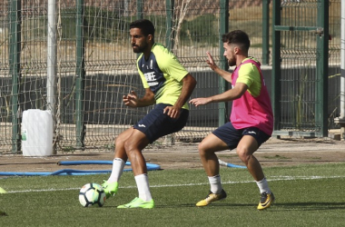 Menosse e Iriondo en un entrenamiento | Foto: Antonio L. Juárez