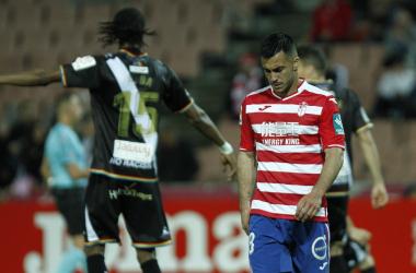 Joselu se lamenta tras una ocasión ante el Rayo [Foto: Antonio L. Juárez]