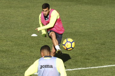 Joselu en un entrenamiento anterior | Foto: Antonio L. Juárez
