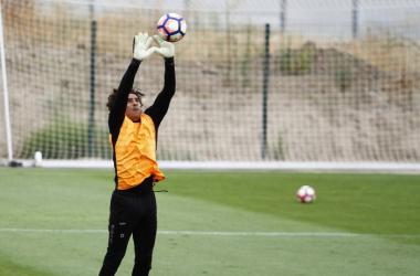 Ochoa en un entrenamiento del Granada CF. Foto: Antonio L. Juárez.