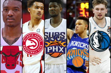 Wendell Carter Jr. of the Chicago Bulls, Trae Young of the Atlanta Hawks, Deandre Ayton of the Phoenix Suns, Kevin Knox of the New York Knicks and Luka Doncic of the Dallas Mavericks
