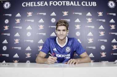 Above: Marco Alonso been unveiled as a Chelsea FC player   Photo: chelseafc.com