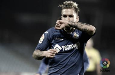 Álvaro Jiménez celebrando un gol | Fotografía: La Liga