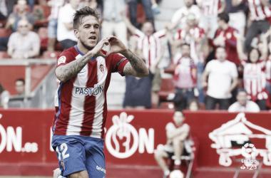 Foto: La Liga. Álvaro Jiménez gritando el único gol del partido.