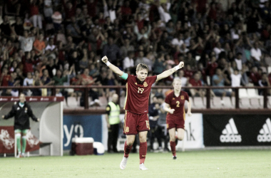 Amanda Sampedro celebra un gol de la Selección Femenina. Foto: EFE