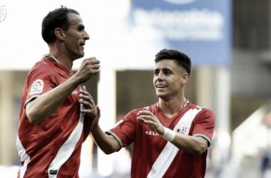 Amaya celebrando un gol con Álex. Fotografía: Rayo Vallecano S.A.D