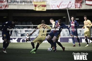 Fali fue clave para contener al Barça B en la primera mitad. Foto: Noelia Déniz