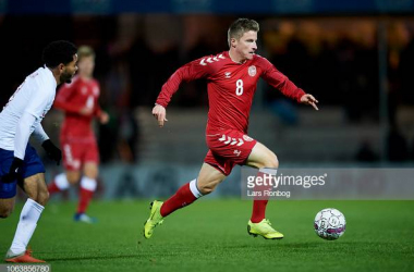 Anders Dreyer in action for Denmark U21's against England U21's, images courtesy of Lars Ronbog on Getty Images