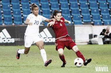 Andrea Pereira en un encuentro con la selección española. | Foto: Dani Nieto (VAVEL.com).