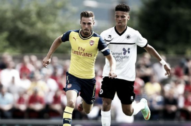 Angol (R) in pre-season action for Boreham Wood against Arsenal - image via zimbio.com