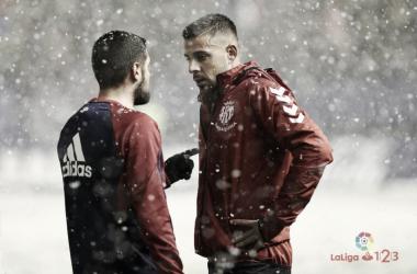 Xavi Molina durante la nevada del 2 de diciembre. Fotografía: La Liga 123