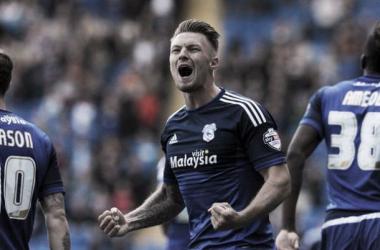 Anthony Pilkington celebrating against his former side - image via WalesOnline