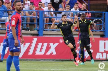 Puertas celebra el gol en el partido de la primera vuelta. Foto: La Liga.