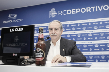 Antonio Couceiro en su primera rueda de prensa // RCDeportivo