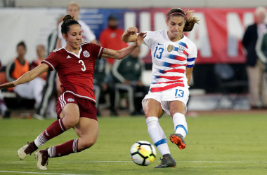 Alex Morgan (left) scored four goals for the USWNT in two friendlies against Mexico in April. | Source: AP