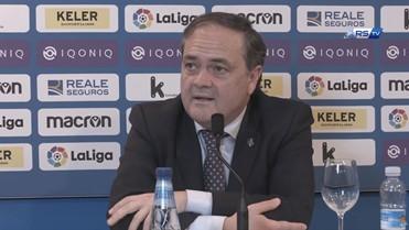 Jokin Aperribay, en la rueda de prensa de la presentación de Carlos Fernández. Foto: Real Sociedad.