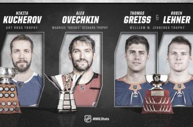 Kucherov, Ovi, Greiss y Lehner se llevaron los premios de final de campaña. NHL.com.