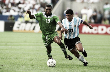 Maradona ante Nigeria, en 1994. A exactamente 24 años del doping (Foto: FIFA).