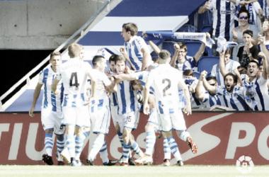 Aritz entró en la historia de la Real, marcando el primero en el Nuevo Anoeta. Foto: La Liga