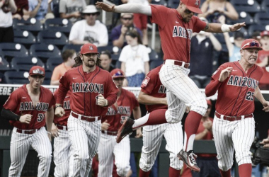 Arizona keeps on winning and keeps on celebrating. They find themselves two wins away from the national title. Photo courtesy of AP Photo/Ted Kirk