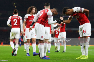 Lacazette and Aubameyang celebrate via getty images