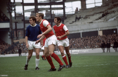 circa 1970: Joe Royle of Everton (left) with Arsenal's John Roberts and Frank McLintock (right). (Photo by Express/Express/Getty Images)