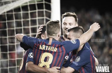 Los jugadores del Barça celebrando un gol en Champions | Foto: Noelia Déniz (VAVEL)