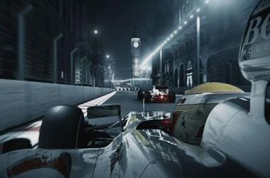 Imagem promocional (2012) do circuito imaginário do GP de Londres, com o Big Ben como fundo. (Fonte: Metro)