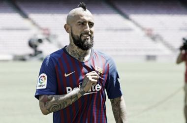 ArturoVidal en su presentación | Foto: FC Barcelona