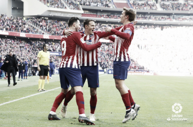 Jugadores del Atlético celebrando un gol // Foto: La Liga