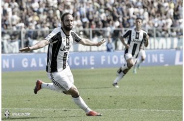 Higuaín festejando uno de sus dos goles ante Empoli / Foto: Juventus.com