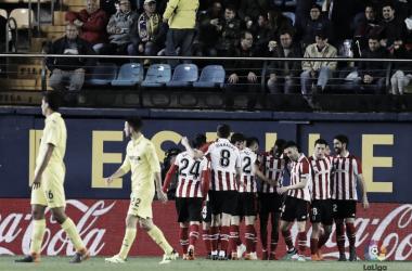 Los jugadores del Athletic celebran uno de los goles | Fotografía: LaLiga
