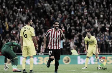 Raúl García celebra el gol que anotó ante el Villarreal hace dos temporadas | Foto: LaLiga