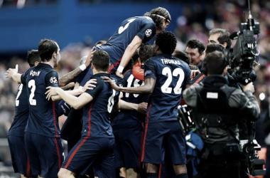 O Atlético festejou a passagem às meias finais da Champions // Foto: Facebook do Atlético de Madrid